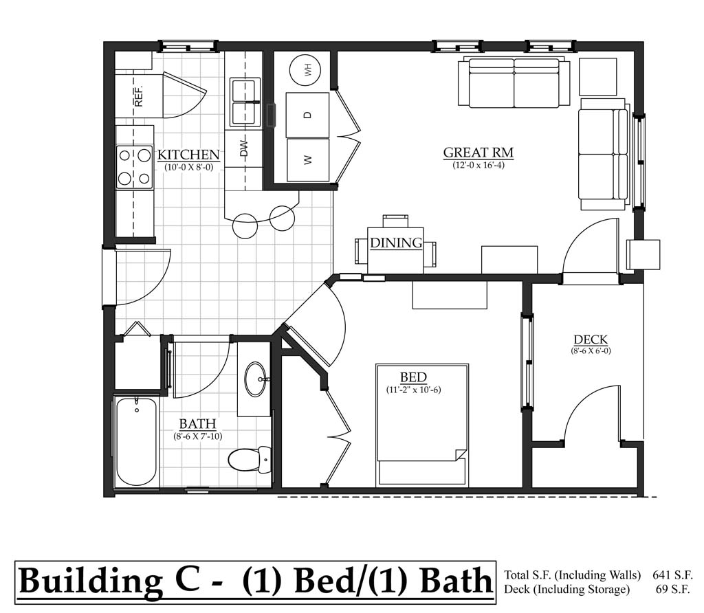 Building c 1 bedroom the flats at terre view for Bathroom construction plans