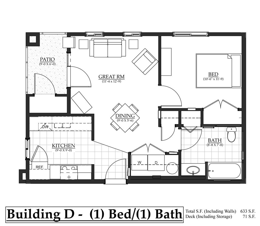 1 bedroom, 1 bathroom located on south side of building D