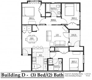 3 bedroom, 2 bathroom located on north side of Building D
