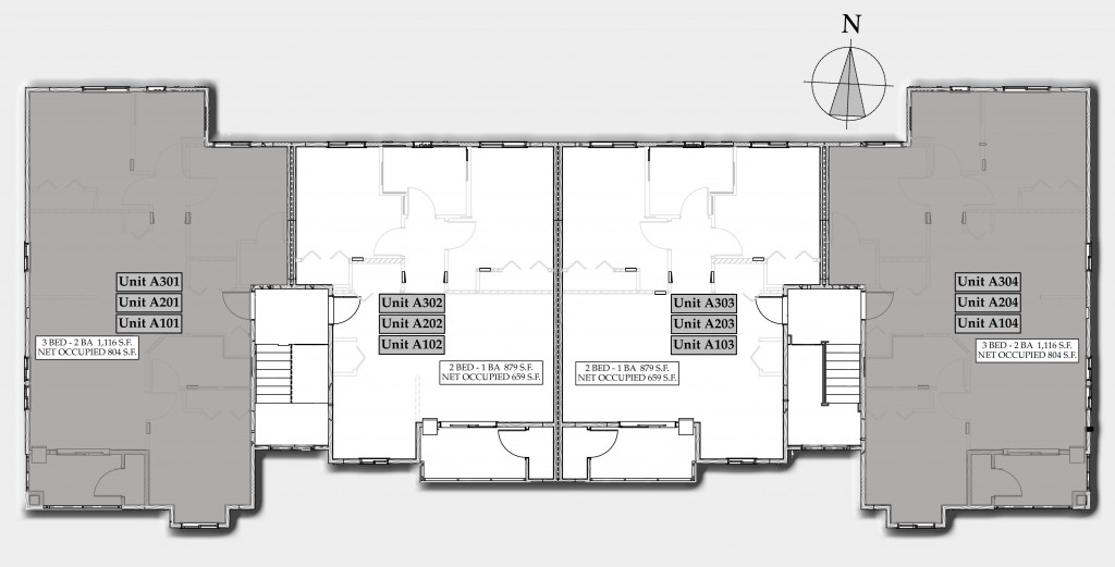 Layout of building A highlighting 2 bedroom apartments