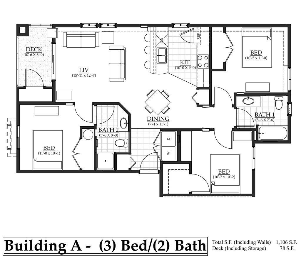 A 3 bedroom floorplan