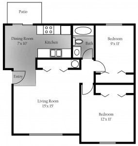 Cedar Ridge 3rd floor Layout - 1st and 2nd floor apartments differ slightly