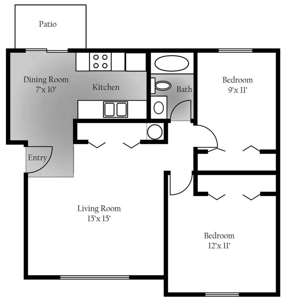 Cedar Ridge 3rd floor Layout - 1st and 2nd floor apartments differ slightly